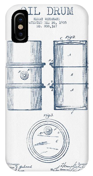 Drum iPhone Case - Oil Drum Patent Drawing From 1905 -  Blue Ink by Aged Pixel