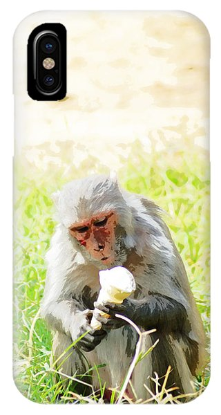 Oil Painting - A Monkey Eating An Ice Cream IPhone Case