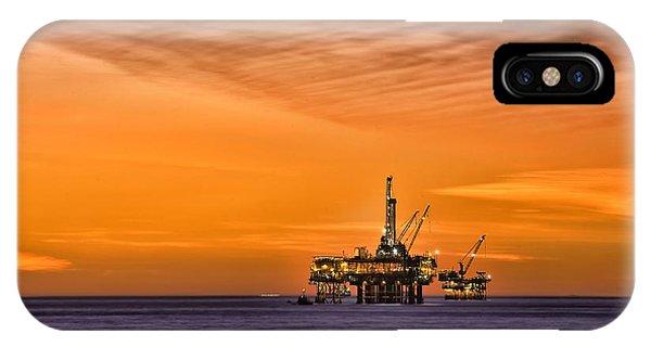Oil Platform At Sunset  IPhone Case