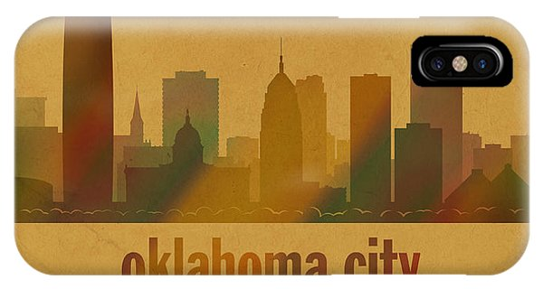 Ok iPhone Case - Oklahoma City Skyline Watercolor On Parchment by Design Turnpike
