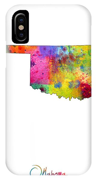 Oklahoma iPhone Case - Oklahoma Map by Michael Tompsett