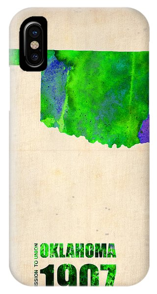 Oklahoma iPhone Case - Oklahoma Watercolor Map by Naxart Studio