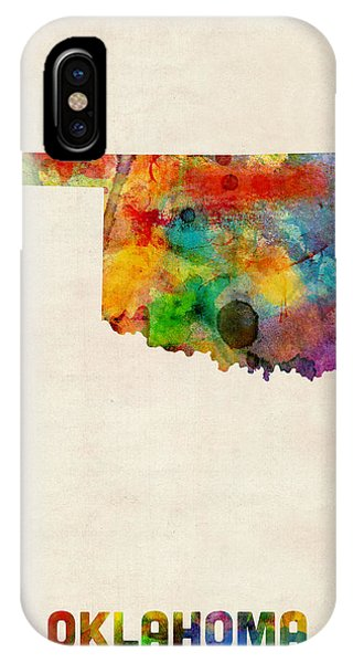 Oklahoma iPhone Case - Oklahoma Watercolor Map by Michael Tompsett