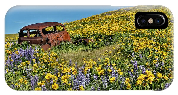 Old Abandoned Car, Springtime Bloom IPhone Case
