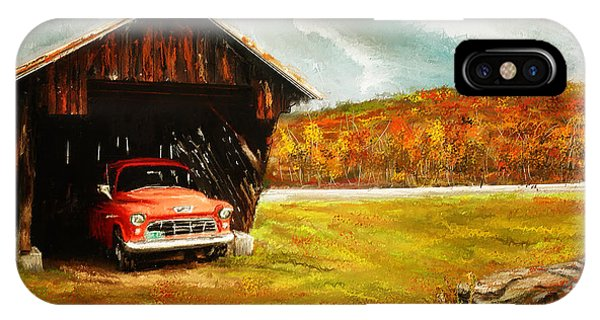 New England Barn iPhone Case - Old Barn And Red Truck by Lourry Legarde