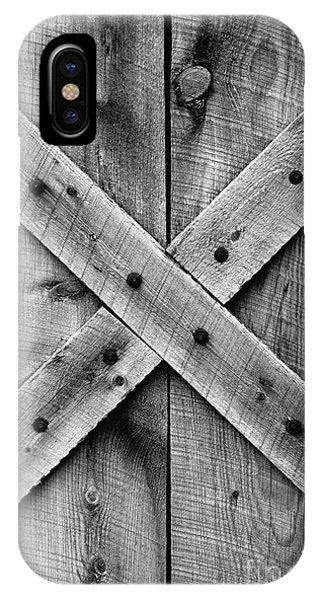 Old Barn Door In Black And White IPhone Case