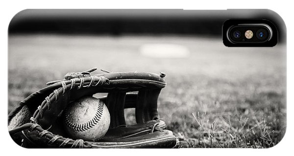 Old Baseball And Glove On Field IPhone Case