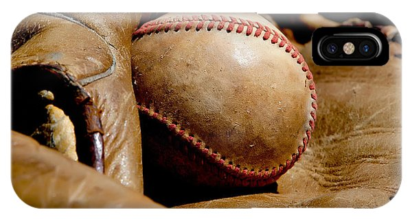 Old Baseball Ball And Gloves IPhone Case