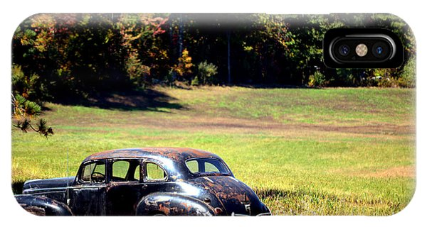 Old Car In A Meadow IPhone Case