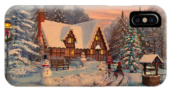 Winter Fun iPhone Case - Old Christmas Cottage by MGL Meiklejohn Graphics Licensing