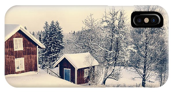 Old Cottages In A Snowy Rural Landscape IPhone Case