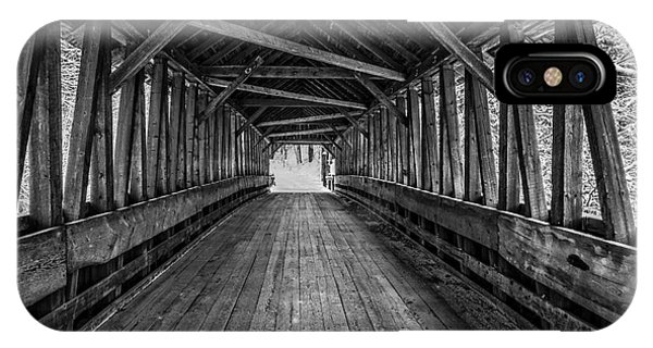New England Barn iPhone Case - Old Covered Bridge Winter Interior by Edward Fielding
