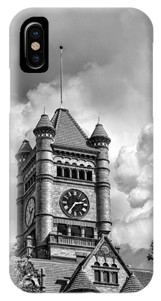 Courthouse iPhone Case - Old Dupage County Courthouse Clouds Black And White by Christopher Arndt