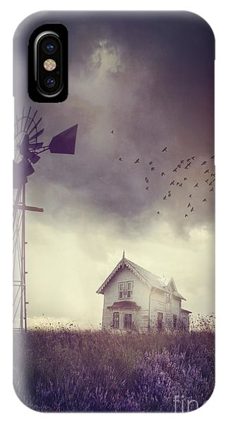 Old Farm House On The Prairies With Storm Approaching IPhone Case