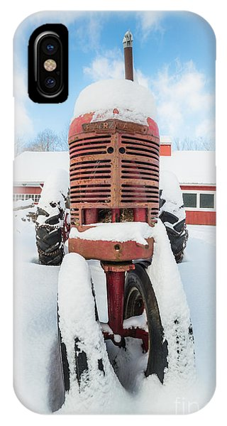 New England Barn iPhone Case - Old Farm Tractor In The Snow by Edward Fielding