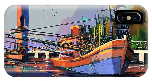 Bright iPhone Case - Old Fishing Boat In The Harbor,digital by Tithi Luadthong