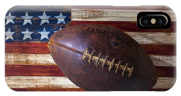 Life iPhone Case - Old Football On American Flag by Garry Gay