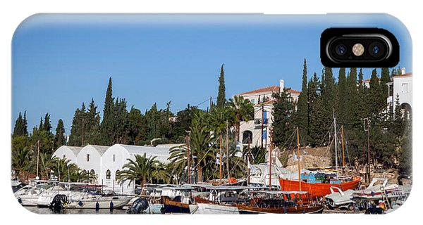 Old Harbour In Spetses Town IPhone Case