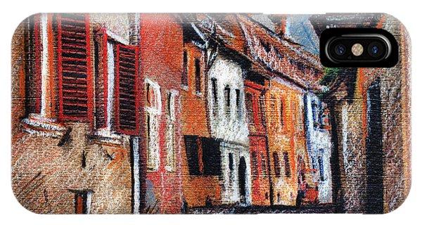 Old Medieval Street In Sighisoara Citadel Romania IPhone Case