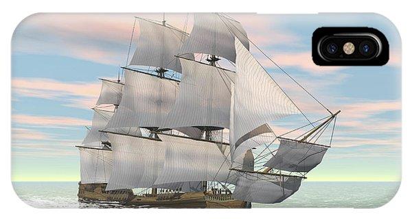 Schooner iPhone Case - Old Merchant Ship Sailing In The Ocean by Elena Duvernay