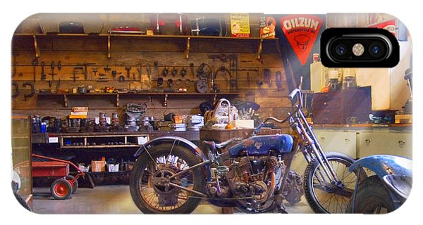 Wagon Wheel iPhone Case - Old Motorcycle Shop 2 by Mike McGlothlen