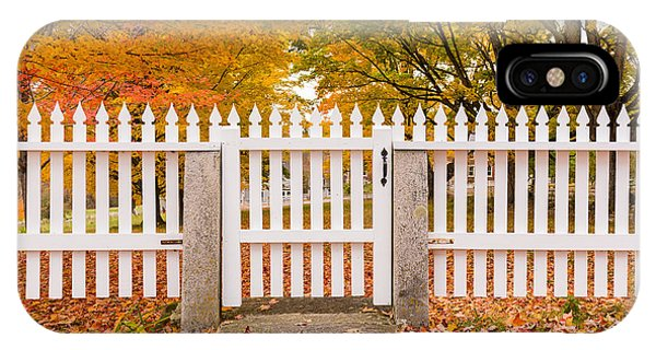 New England Fall Foliage iPhone Case - Old New England White Picket Fence by Edward Fielding