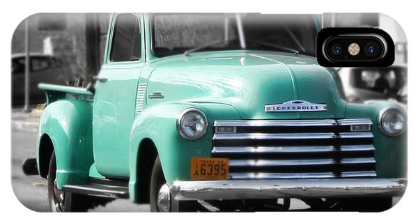 Old Pickup Truck Photo Teal Chevrolet IPhone Case