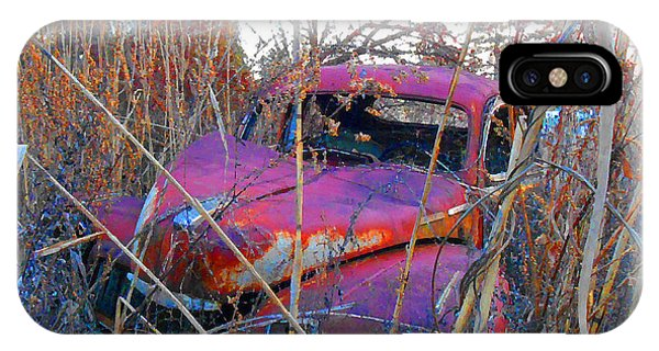 Old Pink Car In The Weeds IPhone Case