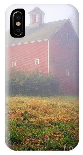 New England Barn iPhone Case - Old Red Barn In Fog by Edward Fielding