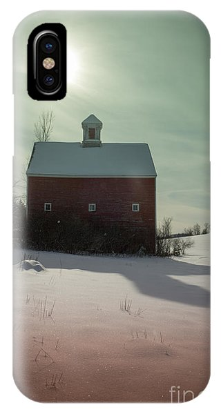 New England Barn iPhone Case - Old Red Barn Long Shadow by Edward Fielding