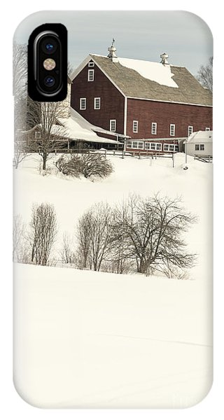 New England Barn iPhone Case - Old Red New England Barn In Winter by Edward Fielding