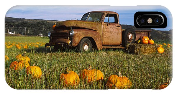 Half Moon Bay iPhone Case - Old Rusty Truck In Pumpkin Patch, Half by Panoramic Images