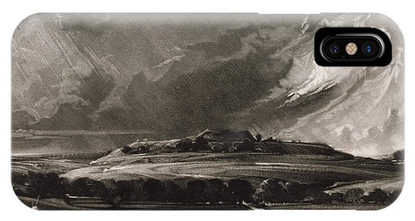 English Countryside iPhone Case - Old Sarum, Engraved By David Lucas 1802-81 C.1829 Mezzotint by John Constable