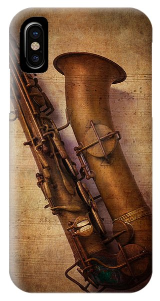 Saxophone iPhone X Case - Old Sax by Garry Gay