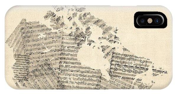 Old Sheet Music Map Of Canada Map IPhone Case