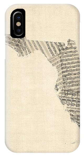Miami iPhone Case - Old Sheet Music Map Of Florida by Michael Tompsett