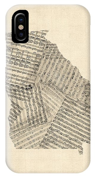 Old Sheet Music Map Of Georgia IPhone Case