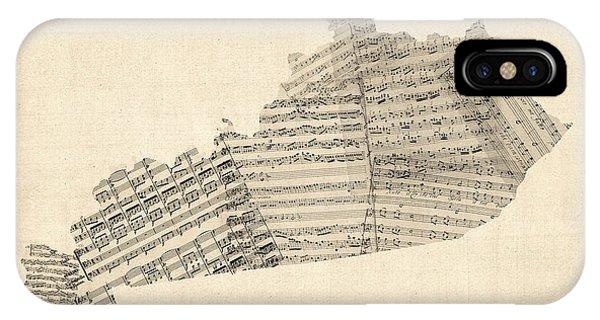 Old Sheet Music Map Of Kentucky IPhone Case