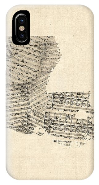 Old Sheet Music Map Of Louisiana IPhone Case