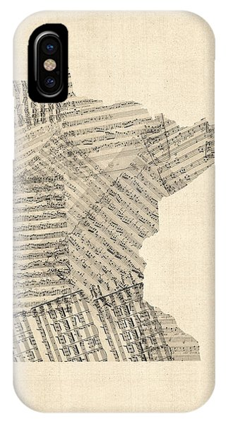 Old Sheet Music Map Of Minnesota IPhone Case