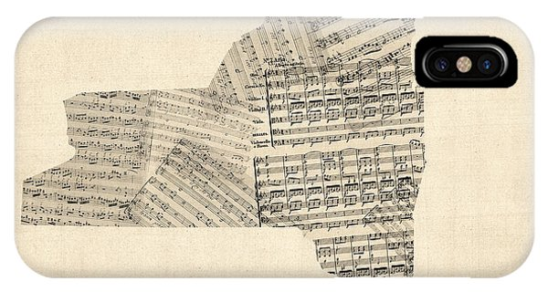 Empire iPhone Case - Old Sheet Music Map Of New York State by Michael Tompsett