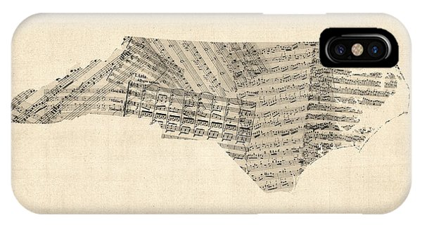 Old Sheet Music Map Of North Carolina IPhone Case