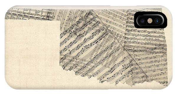 Oklahoma iPhone Case - Old Sheet Music Map Of Oklahoma by Michael Tompsett