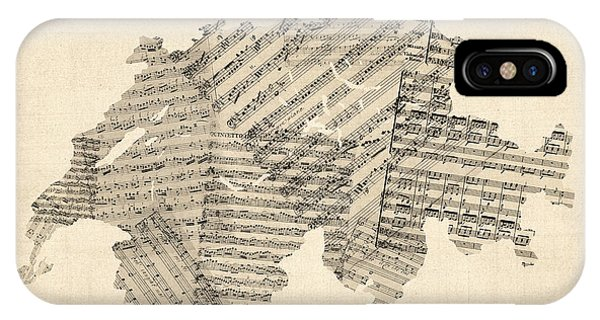 Swiss iPhone Case - Old Sheet Music Map Of Switzerland Map by Michael Tompsett