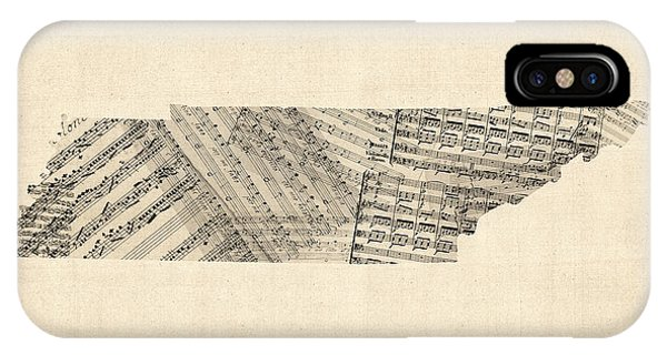 Old Sheet Music Map Of Tennessee IPhone Case