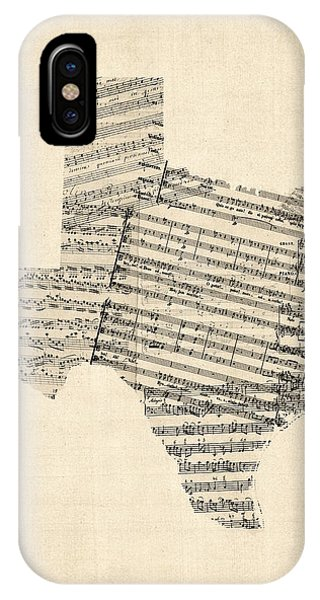University iPhone Case - Old Sheet Music Map Of Texas by Michael Tompsett