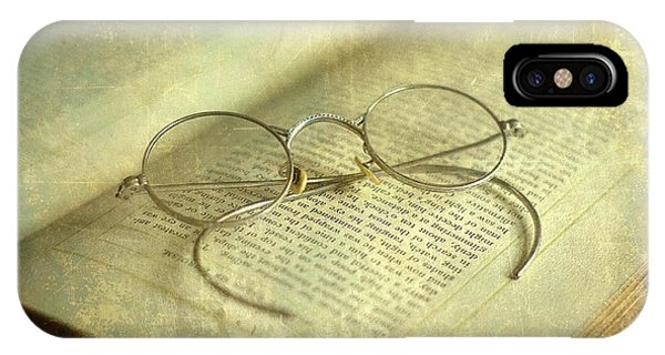 Old Silver Spectacles And Book IPhone Case
