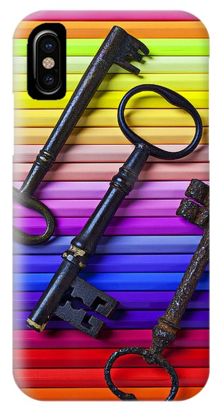 Old Skeleton Keys On Rows Of Colored Pencils IPhone Case