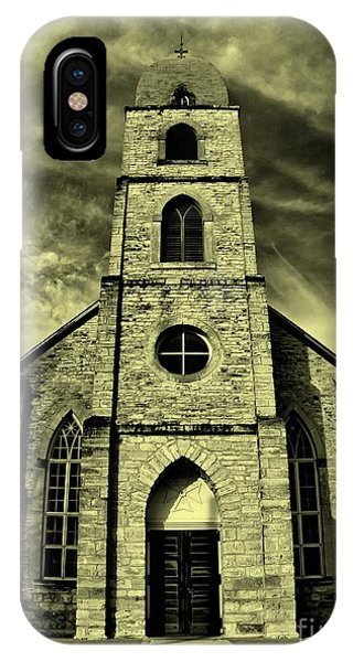 Old St. Mary's Church In Fredericksburg Texas In Sepia IPhone Case
