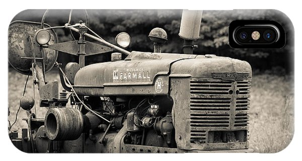 New Hampshire iPhone Case - Old Tractor Black And White Square by Edward Fielding